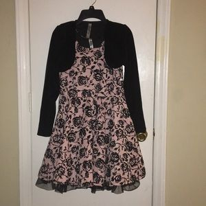 Girls size 12 velvet dress with cropped cardigan.